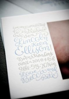 It's almost unreadable, but I still love the lettering on this birth announcement. #calligraphy #typography #stationary