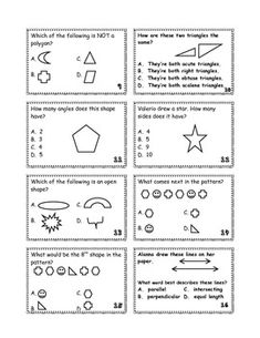 24 Geometry cards and a game board- perfect for a math center! Covers polygons, classifying triangles, types of lines, and patterns. Great for review.