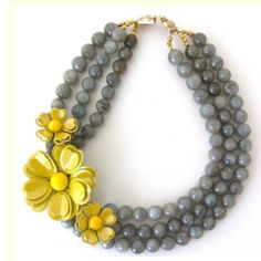 Gray necklace with Yellow flowers
