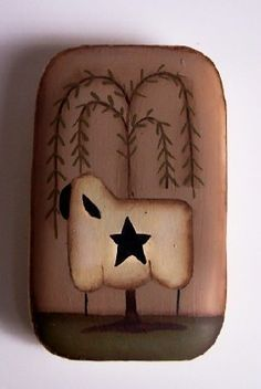 Sheep Willow Tree Primitive Guest SoapHandpainted by Primgal, $4.50