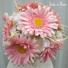 Gerber daisy wedding bouquet pink daisies white hydrangea bridal bouquet silk flowers