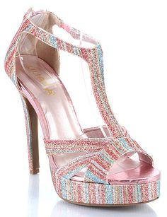 Multi T Strap Glitter Platforms < Sexy Shoes