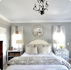 Censational Girl Gorgeous bedroom design with white nailhead trim headboard, Bed Bath & Beyond Barbara Barry Poetical Linen duvet & shams, white & gray zebra pillows, DIY Dorothy Draper nightstand chest, white window panels, bamboo roman shades and sunburst mirror.