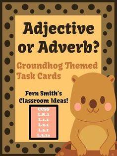 FREE Adjective or Adverb Groundhog Day Themed Task Cards  #TPT #TeachersFollowTeachers #FernSmithsClassroomIdeas