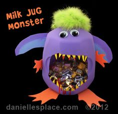 Milk Jug Monster Treat Container Craft Kids Can Make www.daniellesplace.com