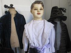 Antique French Wax Child Mannequin Display Doll Victorian Costume Dress Form