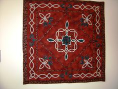 Celtic Concerto.  I have had an affair with celtic style quilts and I designed this one to teach the technique of making bias and sewing by hand.  This was a very popular class and wonderful quilts came from this technique.