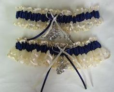 Marine Corp wedding garters, navy ivory wedding garter