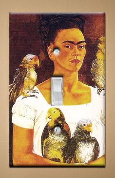 Frida Kahlo with Yellow Birds  Single Light by christinafajardoart, $7.00