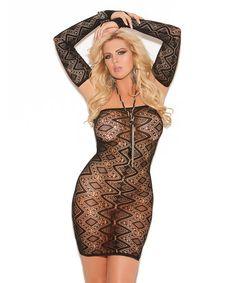 This Black Diamond Lace Bandeau Dress & Glove Set - Plus is perfect! #zulilyfinds