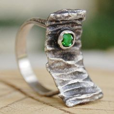 Size 9 ring - Tree Bark - Hand Forged Recycled Sterling Silver by lovestrucksoul on Etsy