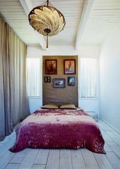 lamps, burlap, beds, headboards, light shades