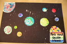 Pink and Green Mama: * Splatter Paint and Watercolor Outer Space Picture Project