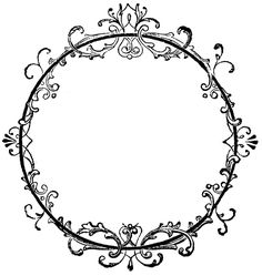 Vintage Clip Art - Old Ink Label - Lacey Graphic Frame