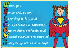 Teacher's Pet Displays » 'Welcome' Superhero Themed Poster » FREE downloadable EYFS, KS1, KS2 classroom display and teaching aid resources » A Sparklebox alternative