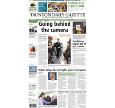 The front page of the Taunton Daily Gazette for Wednesday, Aug. 20, 2014.