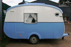 cute blue vintage  caravan