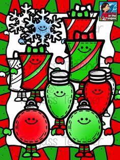 Smiley Christmas Clipart Bundle from tongassteacher on TeachersNotebook.com -  (13 pages)  - This 13 piece clipart bundle features a variety of Christmas graphics! The bundle includes bright green and red ornaments, lights, gifts and a snowflake!
