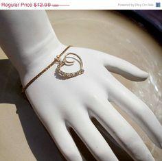 On Sale Vintage Gold Heart rhinestone by PaganCellarJewelry, $10.39