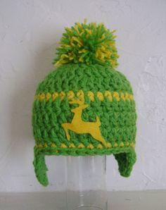 John Deere Inspired Hat with Pompom. $15.00, via Etsy.