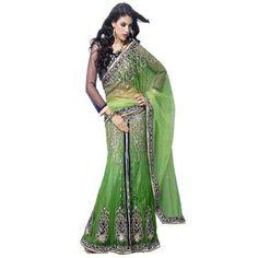 Vastralaya Green net pattern designer lehenga saree