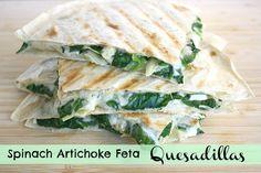 The Garden Grazer: Spinach Artichoke Feta Quesadillas