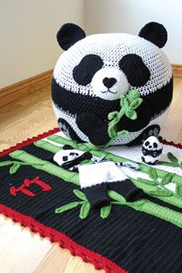 Panda Party Set Digital Crochet Pattern from Love of Crochet magazine's Holiday Crochet 2014 Issue - A bean bag chair, toy, hat, blanket, and pair of pants for your kiddo