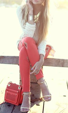 Coral pants & gold accessories