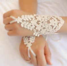wedding gloves ivory lace gloves  Fingerless Gloves by WEDDINGHome