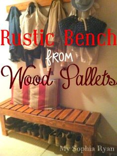 Wood Pallet Bench but with the horseshoe boot rack under it I just pinned earlier