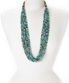 Turquoise & Gold Multi-Strand Necklace