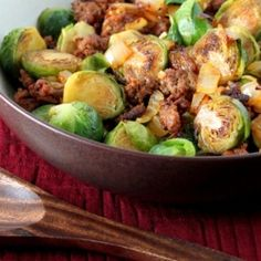 Brussels sprouts sauteed with Mexican chorizo and onions