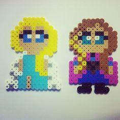 Elsa & Anna - Frozen perler beads by kawaii_girl_14
