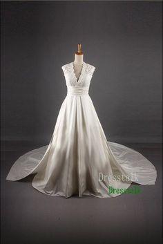 Empire Waist Lace Taffeta Wedding Dress Plus Size by dresstalk, $159.00