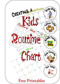 Downloadable customizable kids routine charts