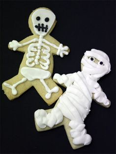 Skeleton and Mummy Cookies. Use gingerbread man cookie cutter.