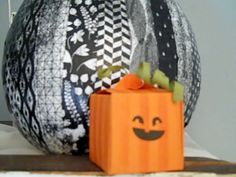 Gift Box Punch Board Box with Stripe Decorative Mask Pumpkin Box.  Halloween, Stampin' UP! Treat Box, Fall