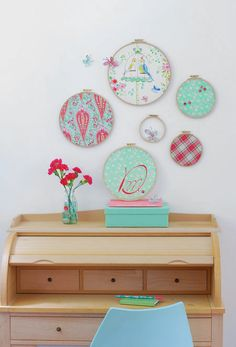 work desk, colour palett, color, wall decorations, girl bedrooms, baby dresses, blog, embroidery hoops, changing tables