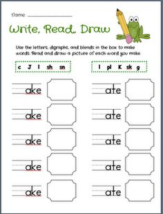 Write, Read, Draw first grade word work, classroom, work freebi, idea ...