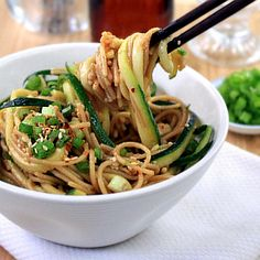 Healthy Ginger-Scallion Noodles by chowdivine #Noodles #Ginger #Scallion #Zucchini #Healthy