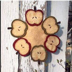 penny rugs, penny rug patterns, wool felt, craft, wool penni, felt patterns, apples, felt appliqu, penni rugsfelt