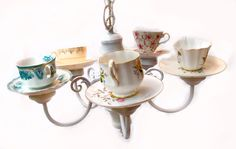 whimsical chandy with repurposed teacups