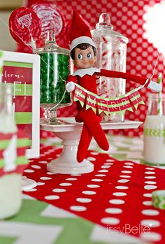 """Elf sets up a big """"Welcome Breakfast"""" for kids to discover the morning he arrives #elfontheshelf"""