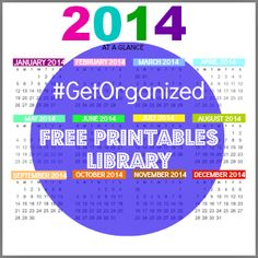 2014 get organized free printables library by Fresh Idea Studio