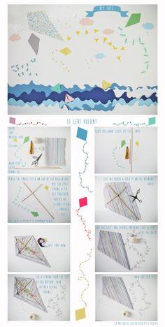 DIY KITE For Petit Poulou {www.petitpoulou.com} by La maison de Loulou {www.Lamaisondeloulou.com/blog} #DIY #kite #petitpoulou #lamaisondeloulou