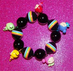 Black Rainbow Pucca Charm Bracelet by Pinkspiderwebs on Etsy