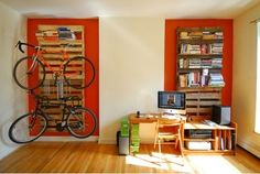 DIY Bookshelf And Bike Rack Of Wood Pallets