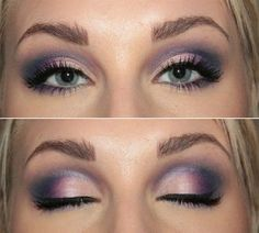 Purple smokey eyes with eyeliner
