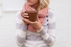 love the sweater, scarf and pink pearl bracelet