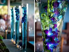 Rent tall vases and fill with orchids  Aqua and Green Florida Beach Wedding